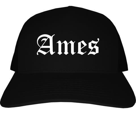 Ames Iowa IA Old English Mens Trucker Hat Cap Black