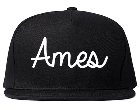 Ames Iowa IA Script Mens Snapback Hat Black