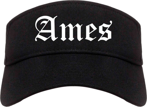 Ames Iowa IA Old English Mens Visor Cap Hat Black