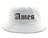 Ames Iowa IA Old English Mens Bucket Hat White
