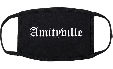 Amityville New York NY Old English Cotton Face Mask Black