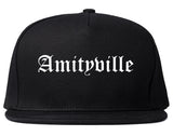 Amityville New York NY Old English Mens Snapback Hat Black
