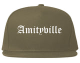 Amityville New York NY Old English Mens Snapback Hat Grey