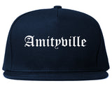 Amityville New York NY Old English Mens Snapback Hat Navy Blue
