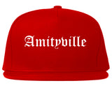 Amityville New York NY Old English Mens Snapback Hat Red