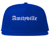 Amityville New York NY Old English Mens Snapback Hat Royal Blue