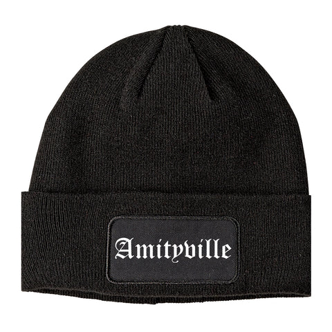 Amityville New York NY Old English Mens Knit Beanie Hat Cap Black