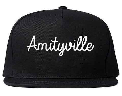 Amityville New York NY Script Mens Snapback Hat Black