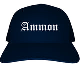 Ammon Idaho ID Old English Mens Trucker Hat Cap Navy Blue