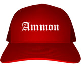 Ammon Idaho ID Old English Mens Trucker Hat Cap Red