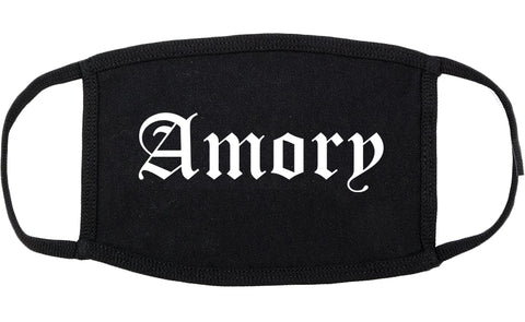 Amory Mississippi MS Old English Cotton Face Mask Black