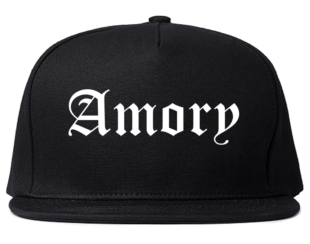 Amory Mississippi MS Old English Mens Snapback Hat Black