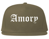 Amory Mississippi MS Old English Mens Snapback Hat Grey