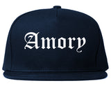 Amory Mississippi MS Old English Mens Snapback Hat Navy Blue
