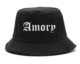 Amory Mississippi MS Old English Mens Bucket Hat Black