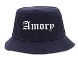 Amory Mississippi MS Old English Mens Bucket Hat Navy Blue