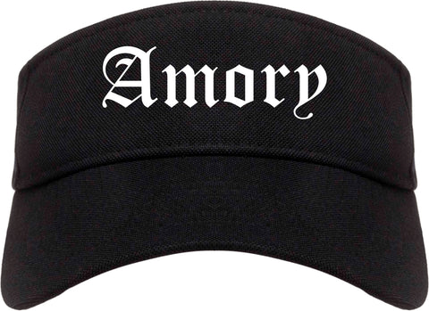 Amory Mississippi MS Old English Mens Visor Cap Hat Black