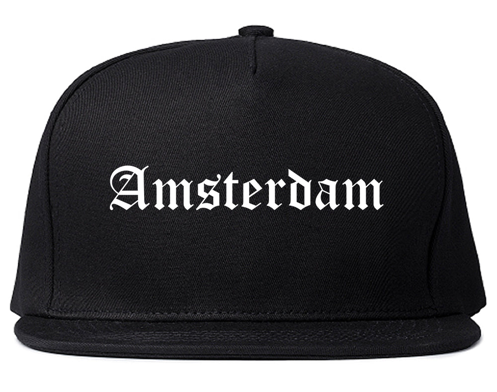Amsterdam New York NY Old English Mens Snapback Hat Black