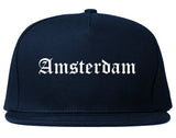 Amsterdam New York NY Old English Mens Snapback Hat Navy Blue