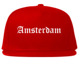 Amsterdam New York NY Old English Mens Snapback Hat Red