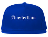 Amsterdam New York NY Old English Mens Snapback Hat Royal Blue