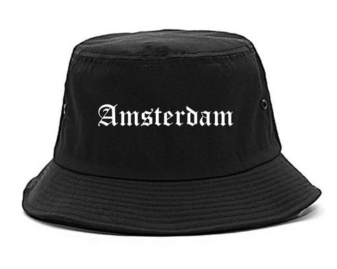 Amsterdam New York NY Old English Mens Bucket Hat Black