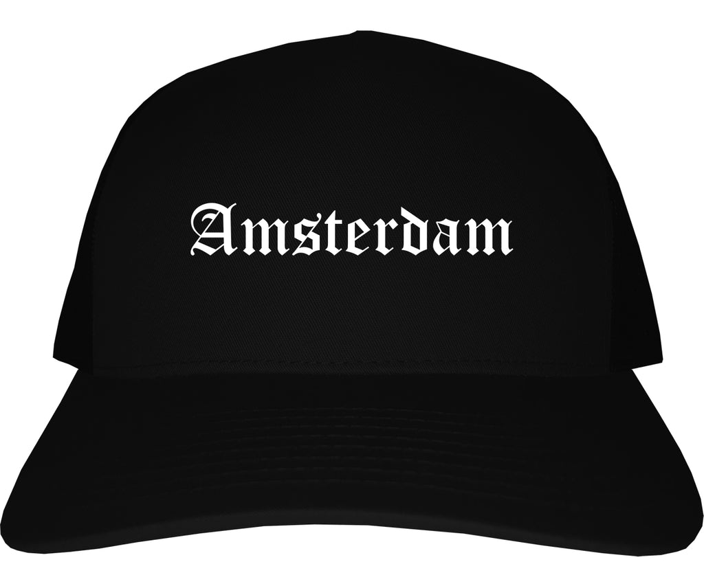 Amsterdam New York NY Old English Mens Trucker Hat Cap Black