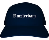 Amsterdam New York NY Old English Mens Trucker Hat Cap Navy Blue