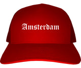 Amsterdam New York NY Old English Mens Trucker Hat Cap Red