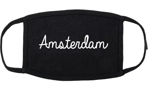 Amsterdam New York NY Script Cotton Face Mask Black
