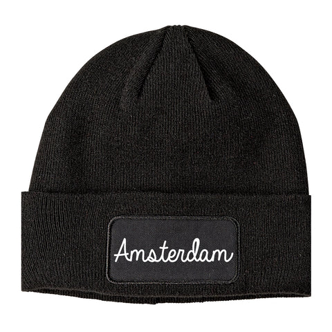 Amsterdam New York NY Script Mens Knit Beanie Hat Cap Black