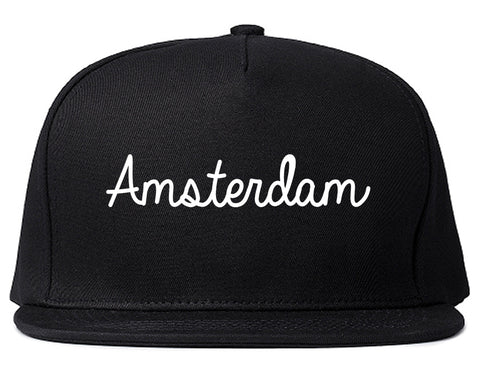 Amsterdam New York NY Script Mens Snapback Hat Black