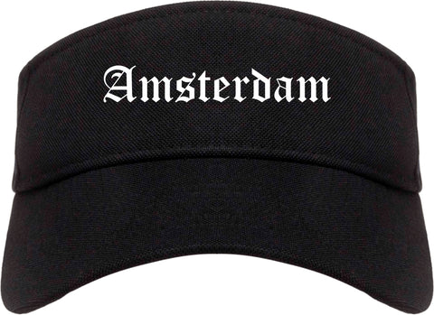 Amsterdam New York NY Old English Mens Visor Cap Hat Black