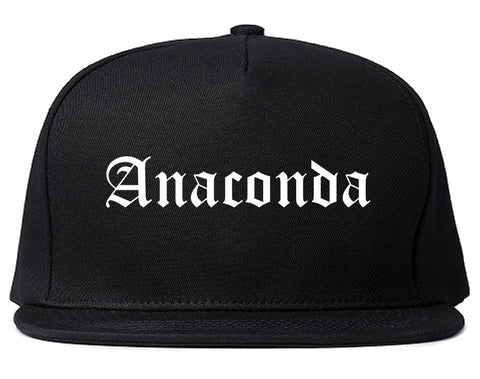 Anaconda Montana MT Old English Mens Snapback Hat Black