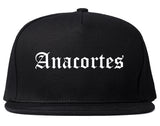 Anacortes Washington WA Old English Mens Snapback Hat Black