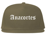 Anacortes Washington WA Old English Mens Snapback Hat Grey