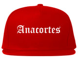 Anacortes Washington WA Old English Mens Snapback Hat Red