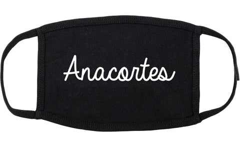 Anacortes Washington WA Script Cotton Face Mask Black