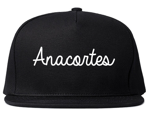 Anacortes Washington WA Script Mens Snapback Hat Black