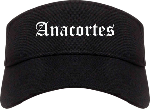 Anacortes Washington WA Old English Mens Visor Cap Hat Black