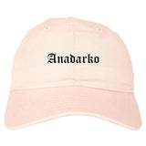 Anadarko Oklahoma OK Old English Mens Dad Hat Baseball Cap Pink