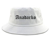 Anadarko Oklahoma OK Old English Mens Bucket Hat White