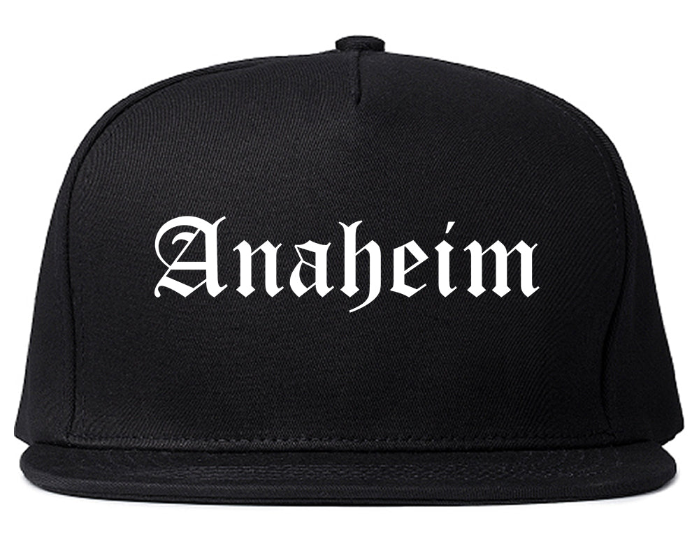 Anaheim California CA Old English Mens Snapback Hat Black