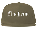 Anaheim California CA Old English Mens Snapback Hat Grey