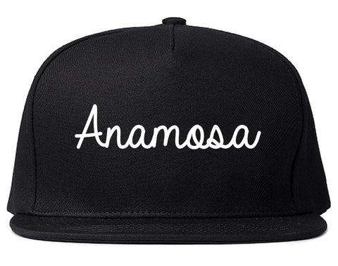 Anamosa Iowa IA Script Mens Snapback Hat Black