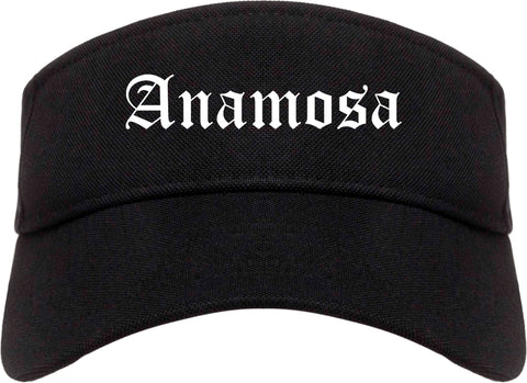 Anamosa Iowa IA Old English Mens Visor Cap Hat Black