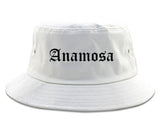 Anamosa Iowa IA Old English Mens Bucket Hat White
