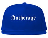 Anchorage Alaska AK Old English Mens Snapback Hat Royal Blue
