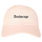 Anchorage Alaska AK Old English Mens Dad Hat Baseball Cap Pink