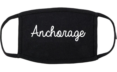 Anchorage Alaska AK Script Cotton Face Mask Black